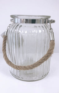 Hurricane Lantern with Rope Handle