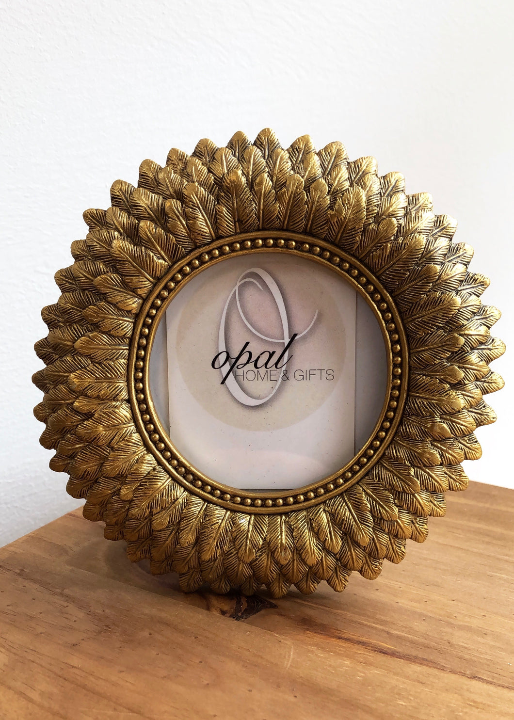Golden Feather Round Photo Frame Small