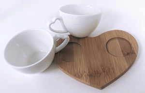 White Heart Duo Cup Platter