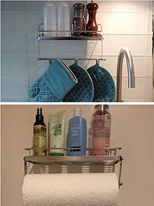 Paper Towel Holder with Shelf Storage, Wall Basket for Kitchen & Bathroom Accessories, No Drilling Adhesive Shelf, Rustproof SUS304 Stainless Steel
