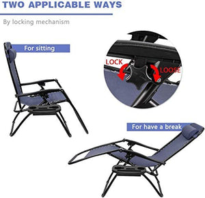 Zero Gravity Chair Patio Folding Lawn Lounge Chairs - set of 2