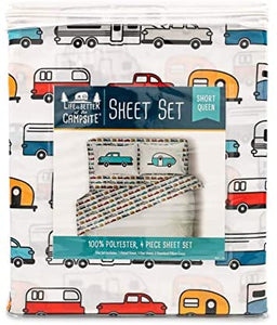 Camping is Better at the Campsite Queen-Size Beds | Set Includes (1) Fitted, (1) Flat Sheet and (2) Pillow Cases | Multi-RV Print