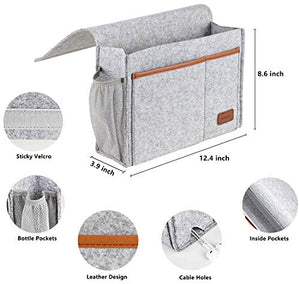 Bedside Caddy, Felt Bed Storage Organizer Hanging Bag Holder with 5 Pockets