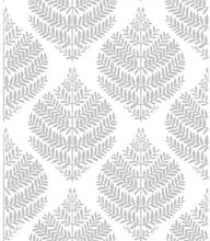 Load image into Gallery viewer, Fern Damask Black Peel and Stick Wallpaper
