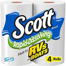 Load image into Gallery viewer, Scott Rapid Dissolve Bath Tissue Made for RVs and Boats (16 Rolls)