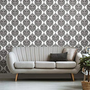 Fern Damask Black Peel and Stick Wallpaper