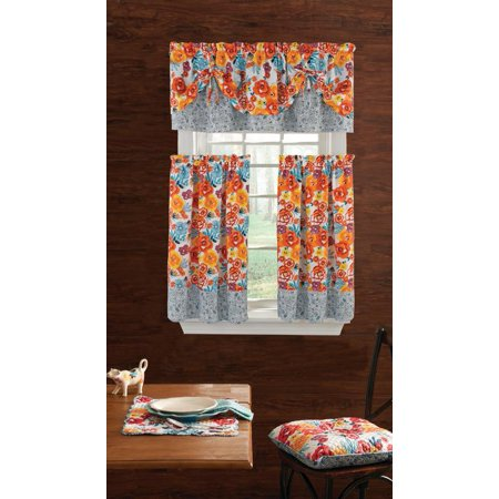 The Pioneer Woman Flea Market 3-Piece Kitchen Curtain Tier And Valance Set