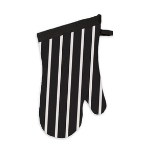 Oven Mitt, MU Kitchen 100% Cotton Terry-Lined Pinstripe 13-Inch, Onyx