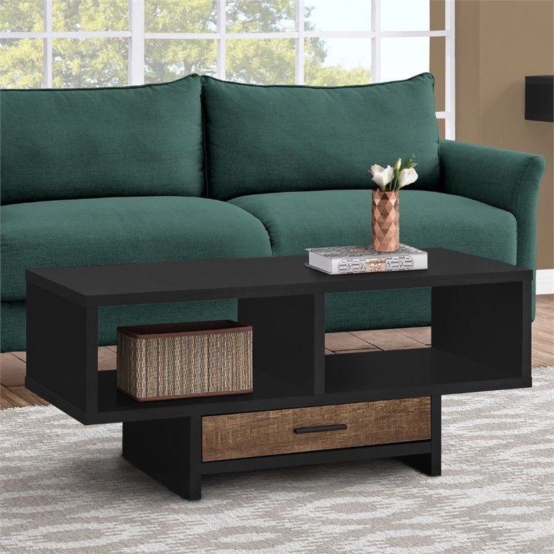 Mod Open Cubby and Drawer Finish Coffee Table