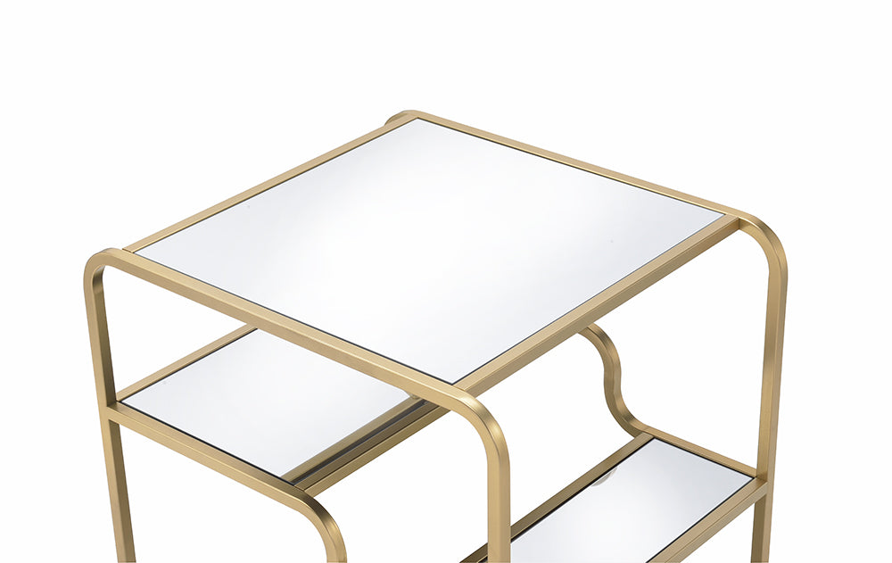 Gold And Clear Glass End Table