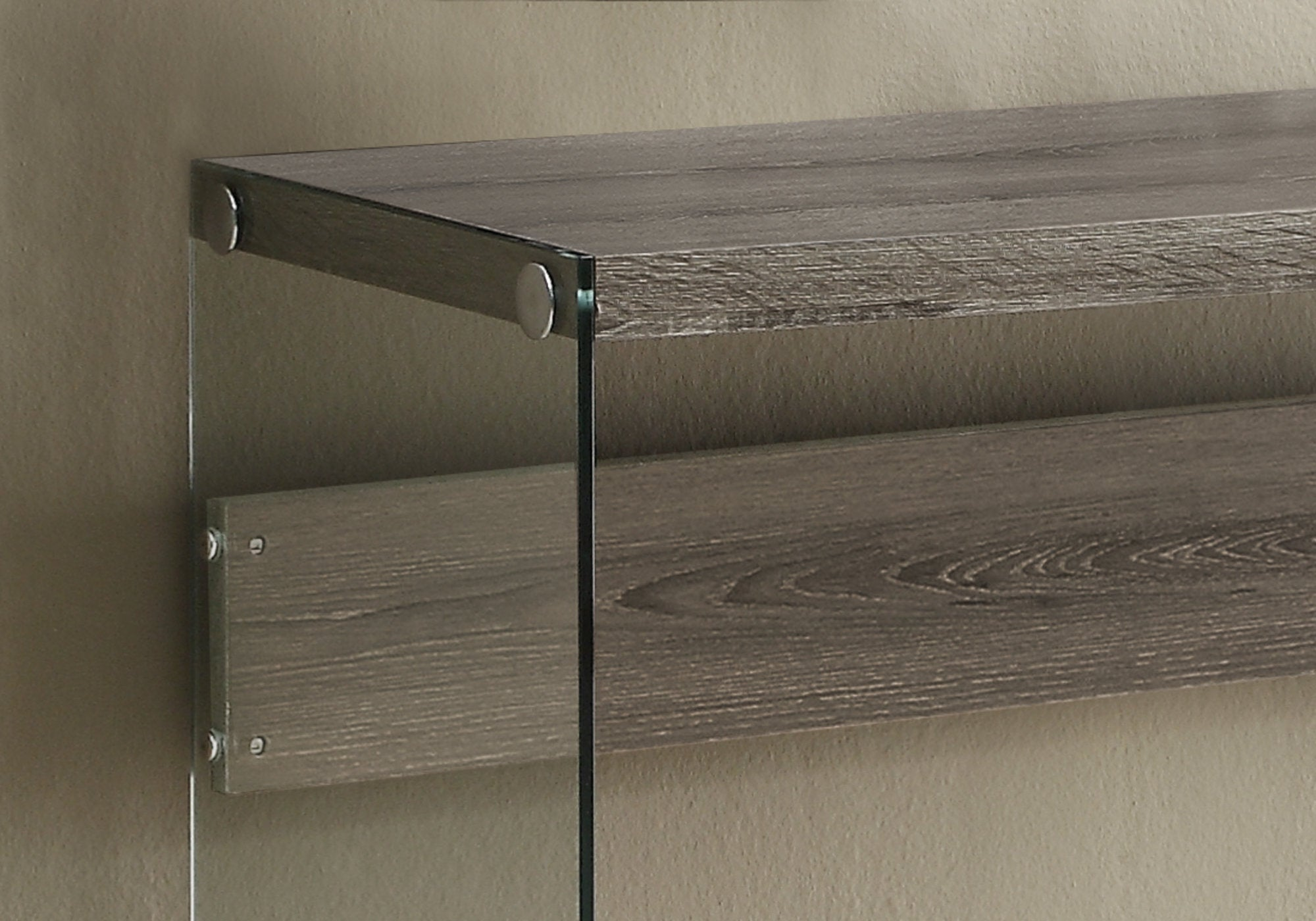 Dark Taupe Clear Tempered Glass  Accent Table