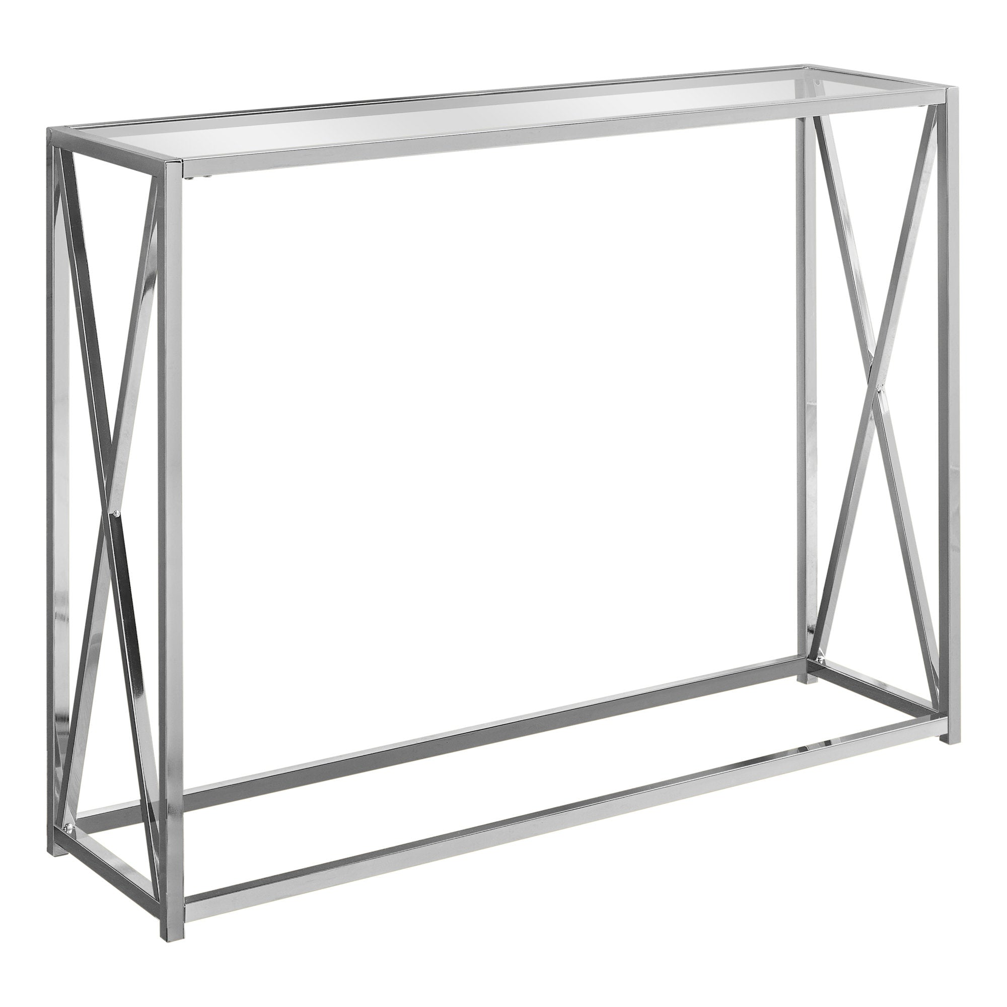 Chrome Clear Metal Tempered Glass Accent Table