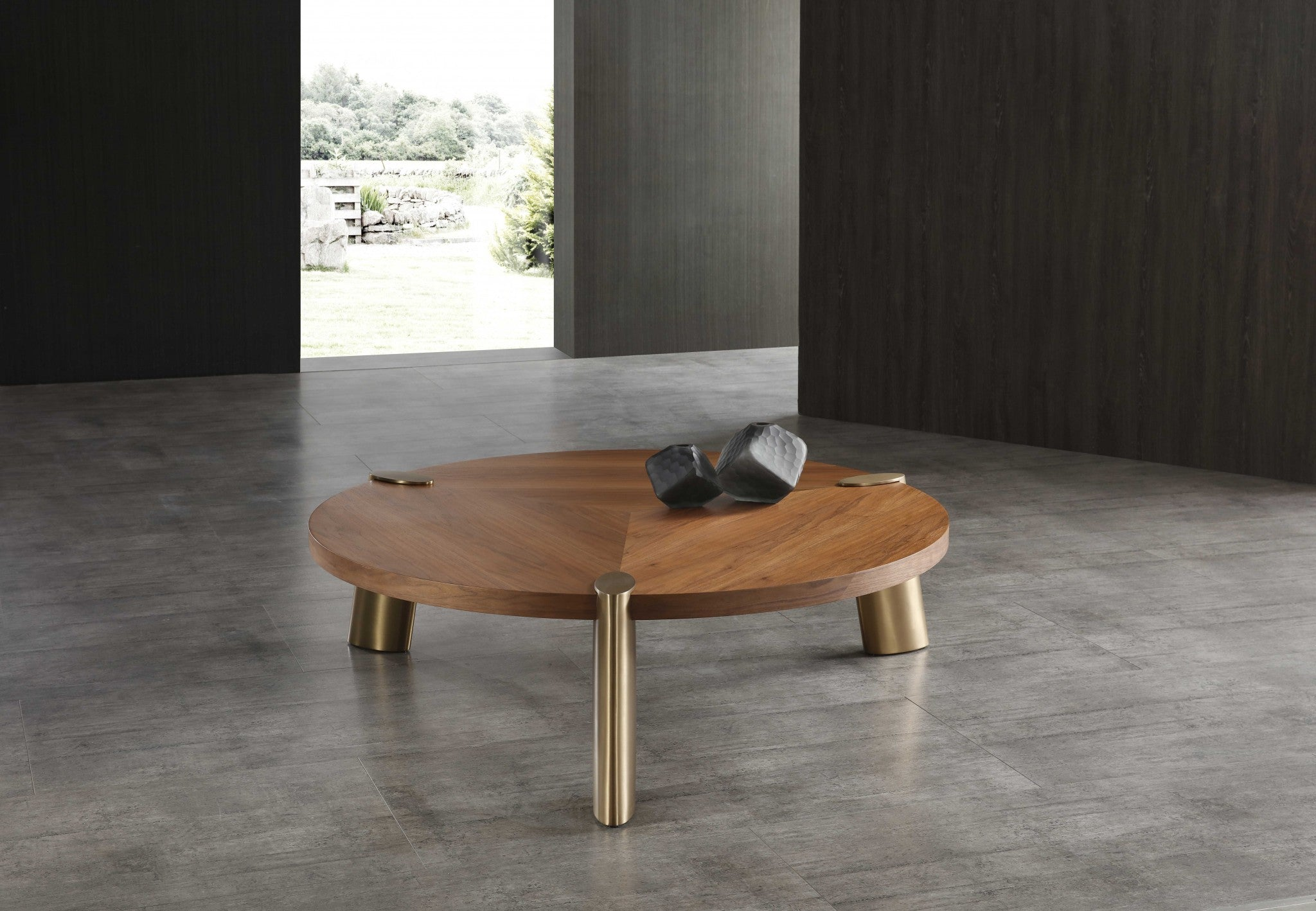 Walnut Stainless Steel Coffee Table