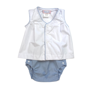 Jack Diaper Set - White/Blue Microstripe
