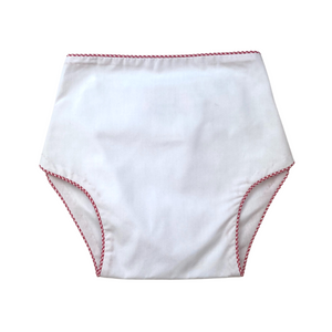 Dapper Diaper Cover - White/Red MiniGingham