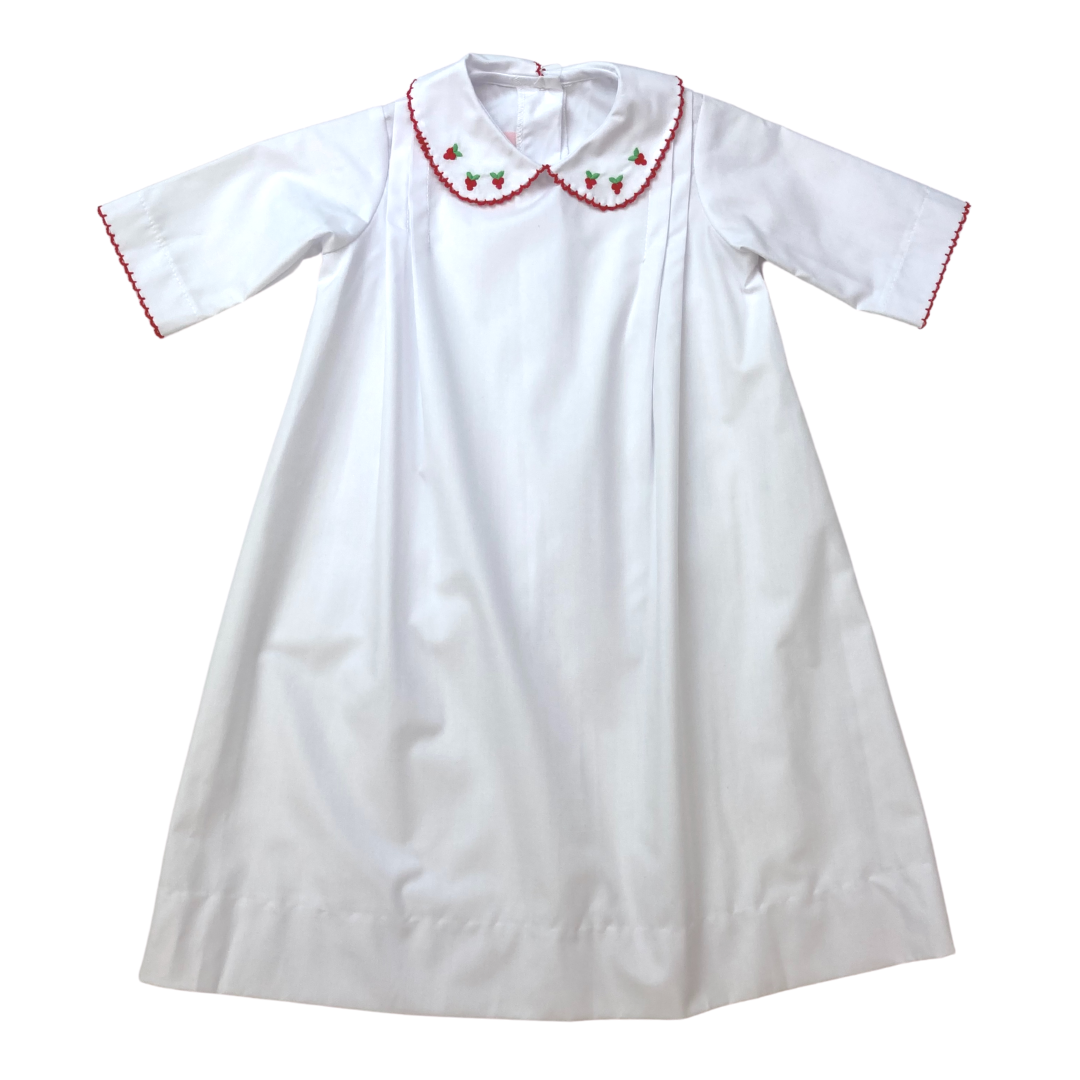 Classic Daygown - White/Red Holiday