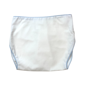 Dapper Diaper Cover - White/Blue MiniG