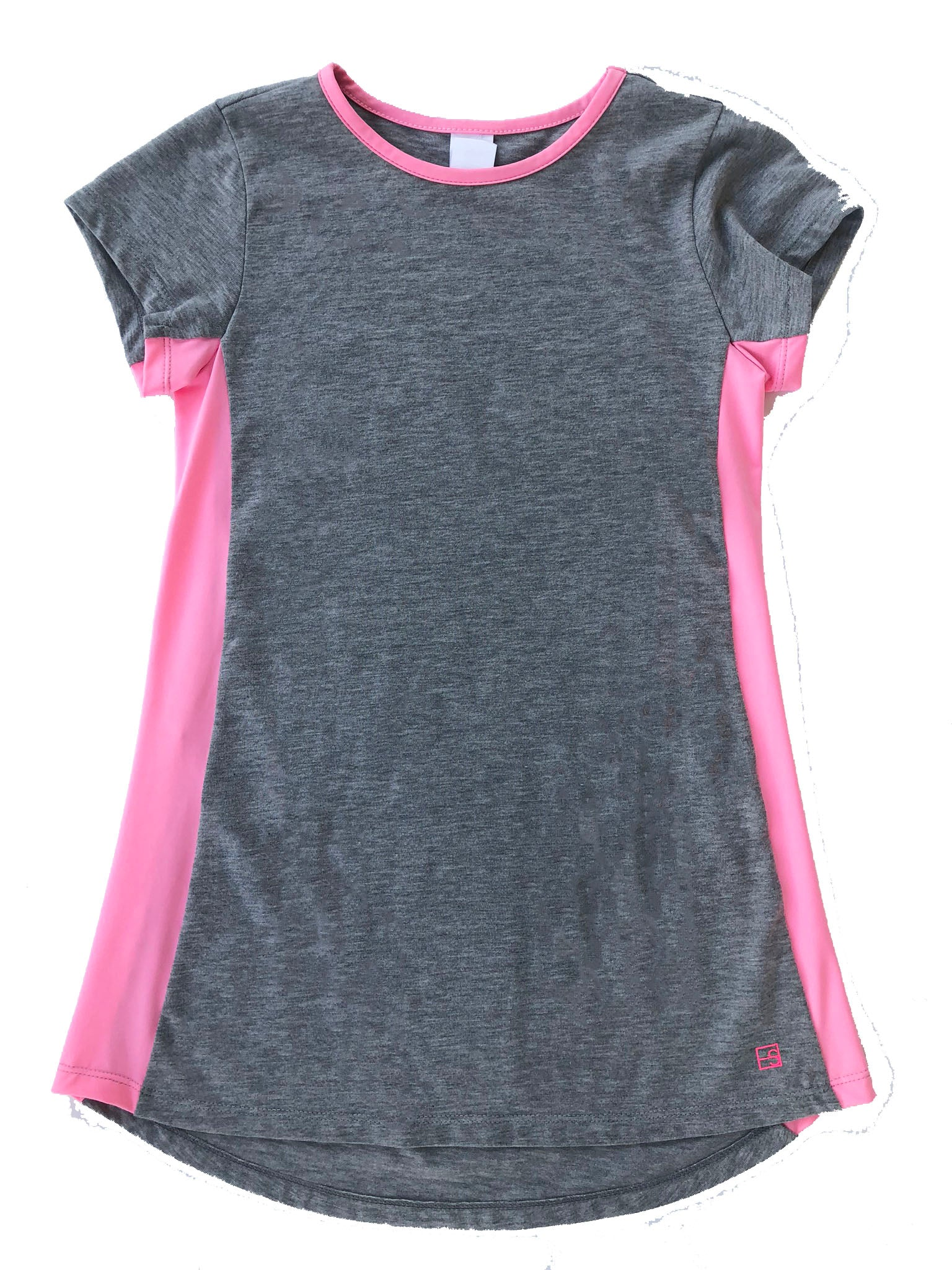 Lindsey Long Tee - Heathered Grey/Hot Pink