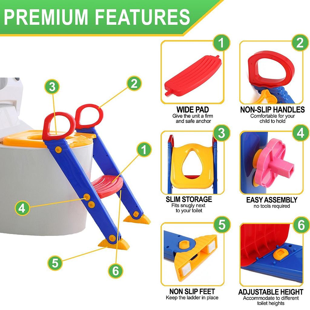 Children Toilet Trainer Comfort Foldable Ladder Seat