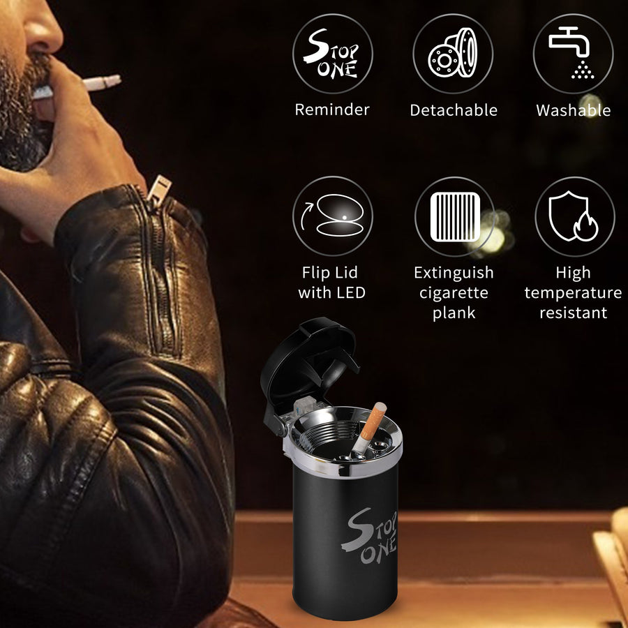 STOP ONE CA-541 Portable Car Ashtray with Lid and LED ABS Flame-Retardant Outside Tinplate Metal Inside Ashtray for Car Indoor or Outdoor