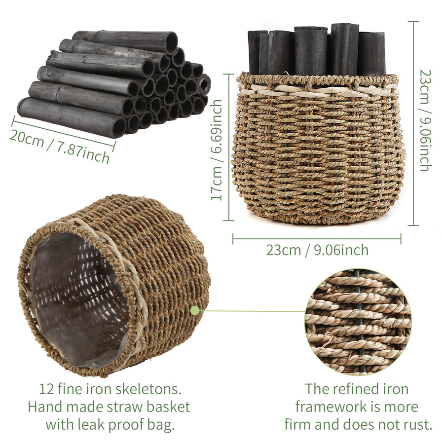 Bamboo Charcoal Strips with Straw Woven Basket, Green Valley Natural Air Purification Activated Carbon for New House, New Decoration, New Car, Room, Office