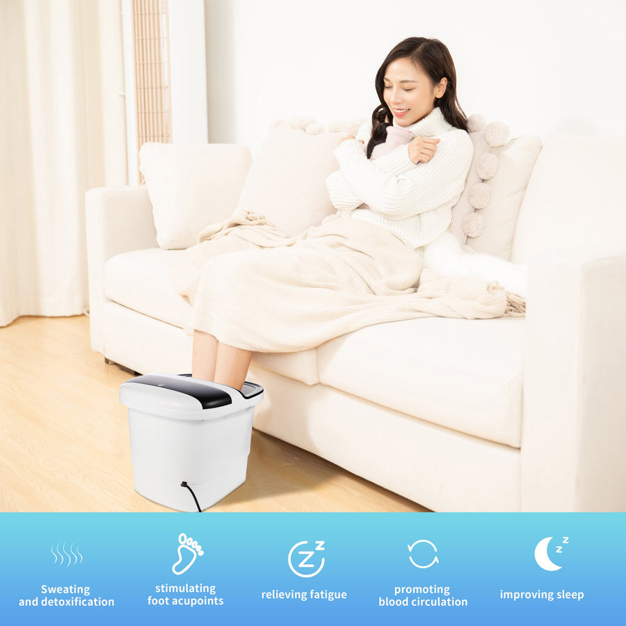 Foot Spa Bath Massager, MASAG A30 Foot Spa Bucket with Digital Touch Control Panel, Deepen Design, Motorized Rollers, Temperature & Timer Control, Oxygen Bubbles and Infrared Lights, All In One for Foot Stress Relief