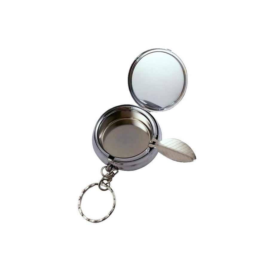 STOP ONE PT-ST Portable Ashtray, Stainless Steel Mini Ashtray, Round Shape with a Folded Bracket Inside, a Keychain Outside, Pocket or Hanging, Capacity 6 Pcs Butts, for Travel and Outdoors, Sliver