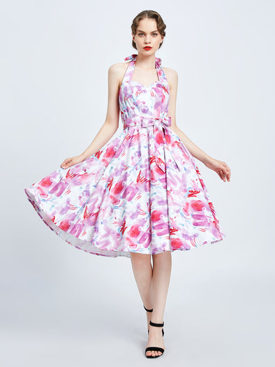 Watercolor Splash Halter Dress