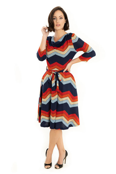 Chevron Pattern Knit Dress