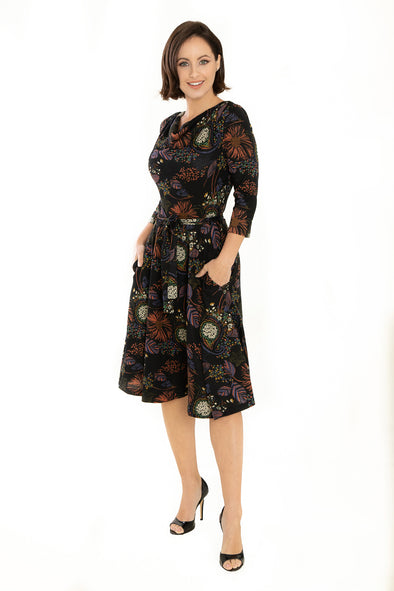 Black Multi Floral Fall Knit Dress