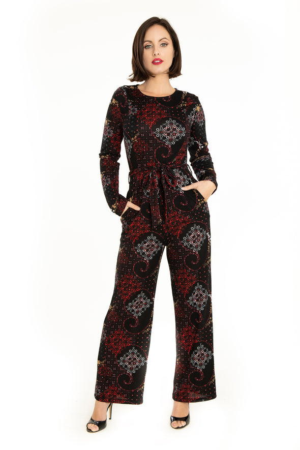 Geometric Snow Pattern Knit Jumpsuit