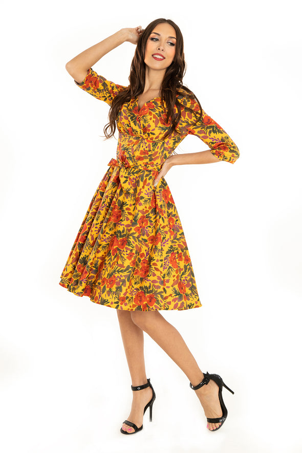 Mustard Watercolor Floral Cotton Dress
