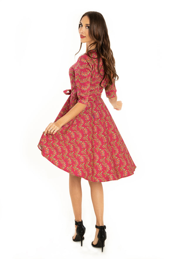 Fuchsia Flower Vines 3/4 Sleeve Cotton Dress