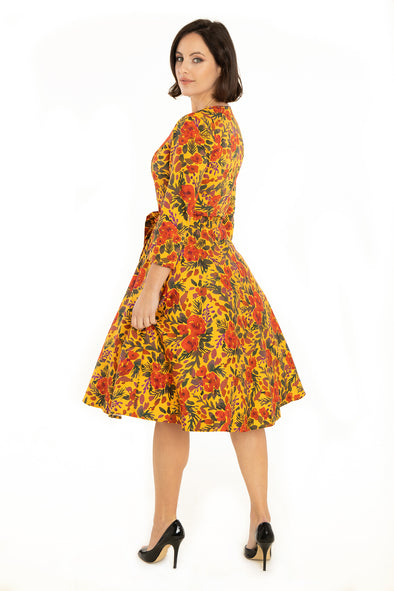Mustard Watercolor Floral Square Neck Dress
