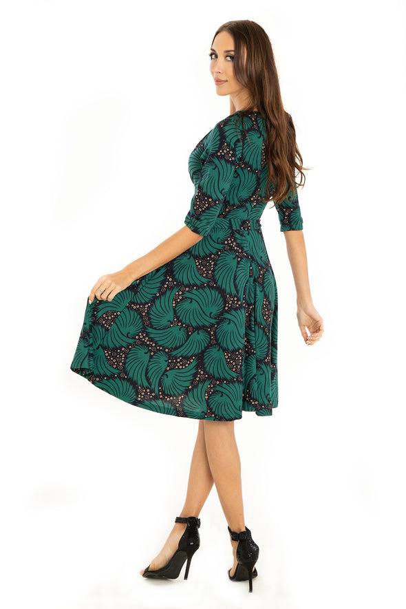Forest Green Feathers 3/4 Sleeve Knit Dress