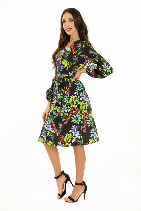 West Coast Flowers Front Pocket Cotton Dress