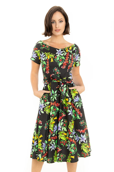 West Coast Flowers Short Sleeve Dress