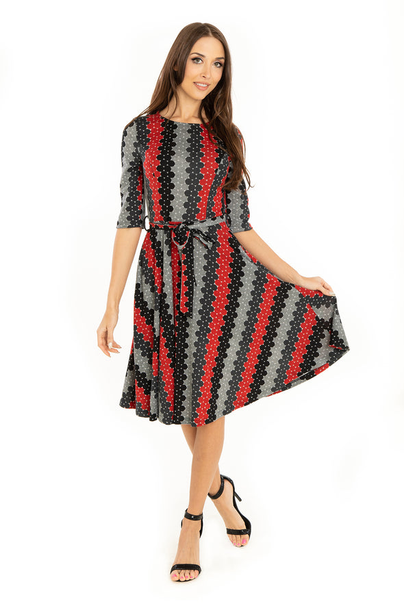 Red Black Domino 3/4 Sleeve Knit Dress