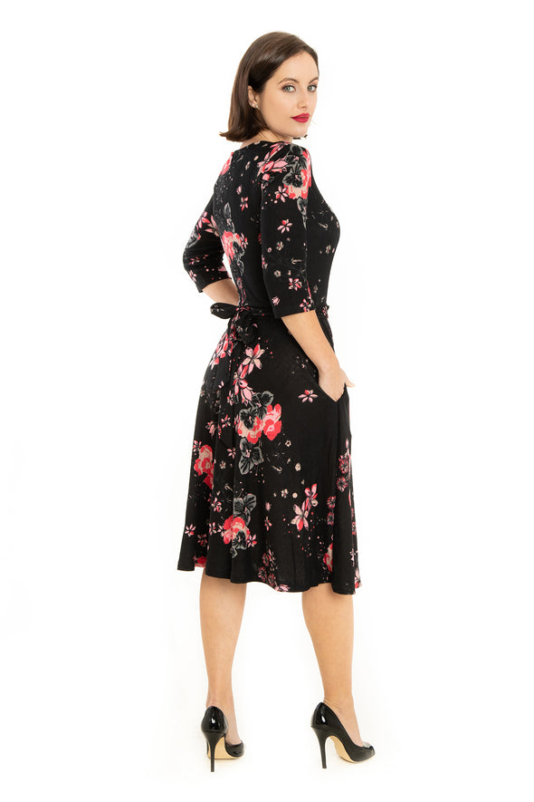 Black Multi Florals 3/4 Sleeve Knit Dress