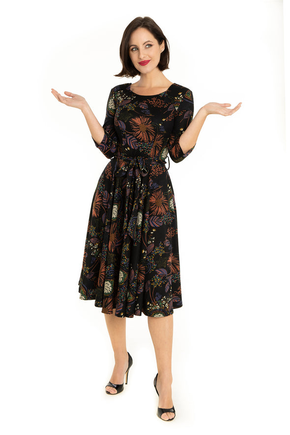 Black Multi Florals Firework 3/4 Sleeve Knit Dress