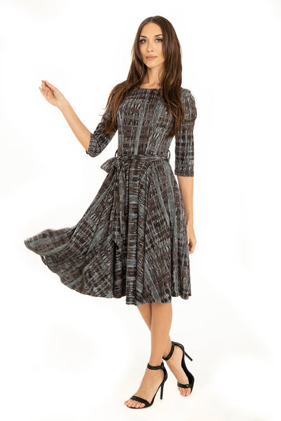 Black Gray Abstract 3/4 Sleeve Knit Dress