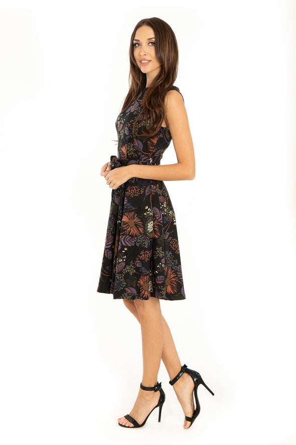 Black Florals Firework No Sleeve Knit Dress