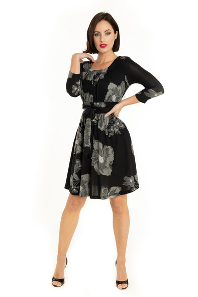Black Gray Flowers 3/4 Sleeve Knit Dress