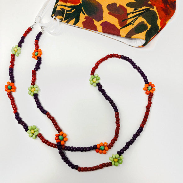 Mustard Floral Face Mask & Mask Chain Set