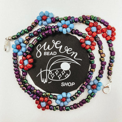 Face Mask Chain- Daisy Galaxy Seed Bead