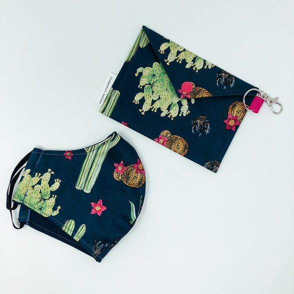 Cactus- Face Mask & Pouch Set- Collaborated With Domennie's habitat