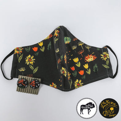 Hedgehog Gargen Face Mask & Floral Studs Set- Collaborated With Lady Wildebeest