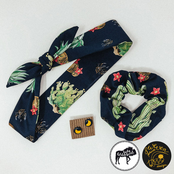 Cactus Headband, Scrunchie & Earring Set- Collaborated With Lady Wildebeest