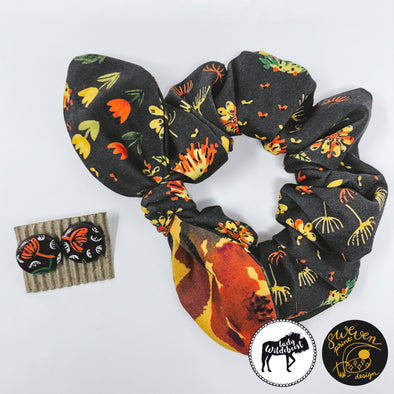 Hedgehog Gargen Scrunchie, Bow & Earrings Set- Collaborated With Lady Wildebeest