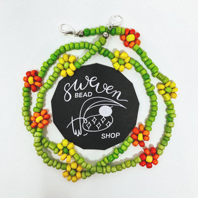 Face Mask Chain- Daisy Green Seed Bead